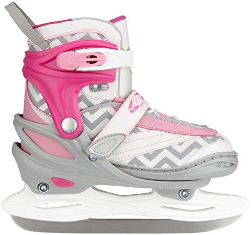 Nijdam-Pattini pattinaggio regolabile Semi Soft Boot, Bambina, Eiskunstlauf Schlittschuhe Verstellbar Semi Softboot, weiß/Rosa/Grau, 30-33