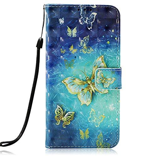 Unisnug Carcasas Tapa Funda Billetera para Xiaomi Mi 8 Fundas Dura Carasa Protector Xiaomi Mi 8 Cuero-Mariposa Dorada