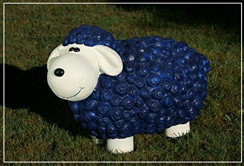 Dekofigur Schaf Herbert blau bunte Schafe Tier Figuren für Haus und Garten