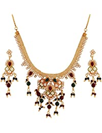Variation Red & Green Stone Gold Plated Necklace Set For Wedding Women-VD15919