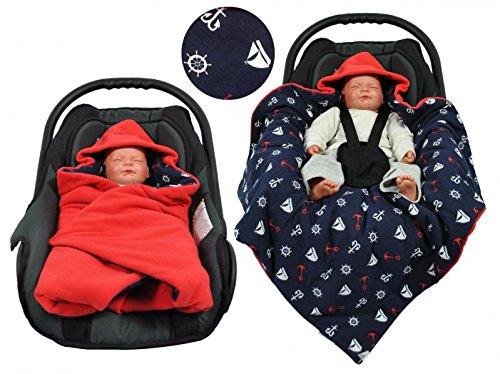 Einschlagdecke für die Babyschale Fußsack für kalte Tage in verschiedenen Farben von HOBEA-Germany, Farben Winterdecken:rot Marine
