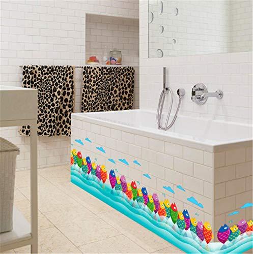 XIONGXI Applique Cartoon Bunte Fische Klassenzimmer Kinderzimmer Sockelleiste Dekoration Wandsticker Schlafzimmer Wohnzimmer Wandsticker
