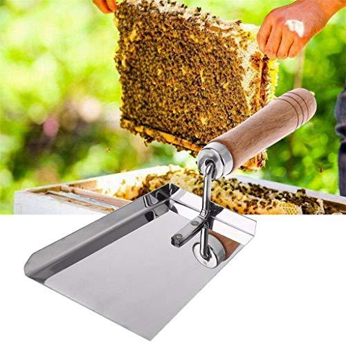 TianranRT Edelstahl Stahl Holz Griff Reinigung Bienenstock Schaufel Imkerei Sauber Werkzeug Schaufel