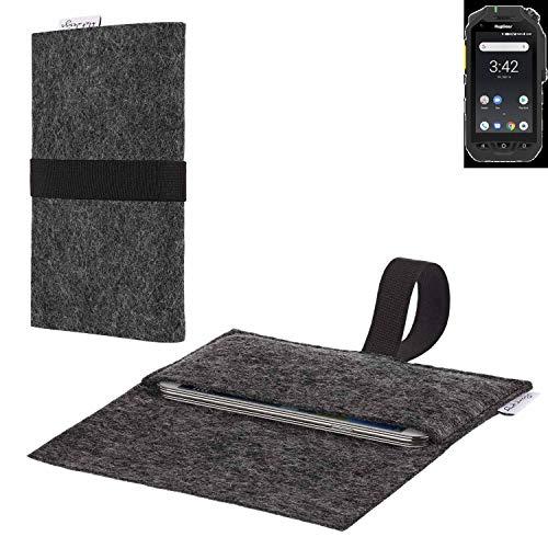 flat.design vegane Handy Hülle Aveiro für Ruggear RG725 passgenaue Filz Tasche Case Sleeve Made in Germany