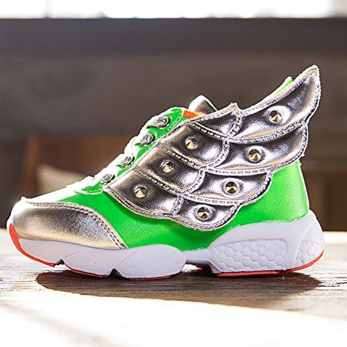 ASHION Kid's Frühling Herbst Kinder Leder Schuh Mädchen Mode LED Schuhe Boy Wing SneakersKidsSport Schuhe Laufschuh Grün