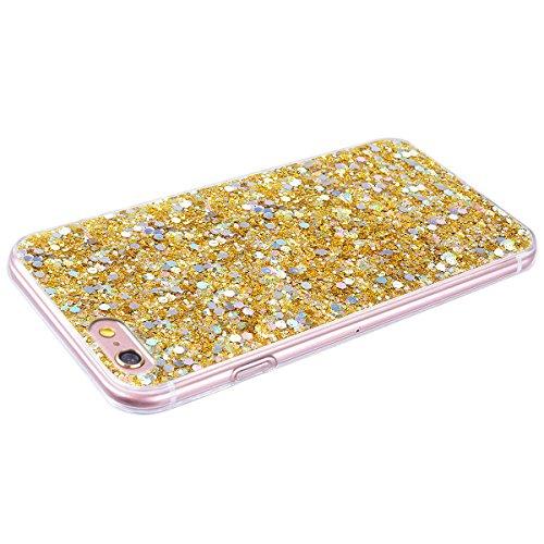 Smartlegend Funda xxx Silicona, yyy Case Carcasa TPU Bumper Antigolpes Dorada Glitter para Mujer y Niña iPhone 6