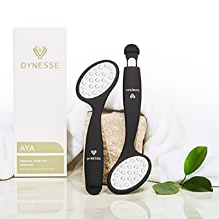 Premium Laser-Cut Foot File with Integrated Mini Hard Skin Remover by DYNESSE. Callus Rasp with Ergonomic Design. Stainless Steel Feet Scrubber for Spa and Pedicure Care. Dead Skin Shaver and Scraper