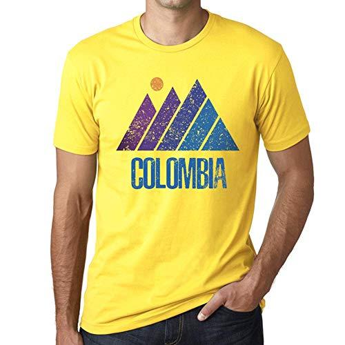 e7404a5c93 Cityone Uomo Maglietta Tee Vintage T Shirt Mountain Colombia Giallo