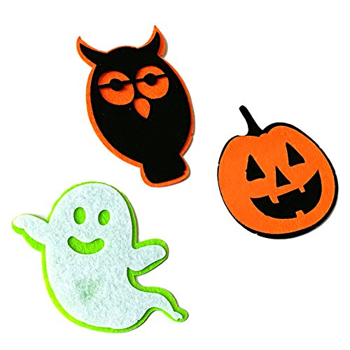 Le yi Wang You 3 Stück/Set Halloween Dekoration Cartoon Geister Kürbis Eule Applikation DIY Craft Multi