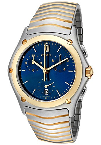 Ebel Men's Classic Wave Navy Blue Dial Chronograph Two Tone