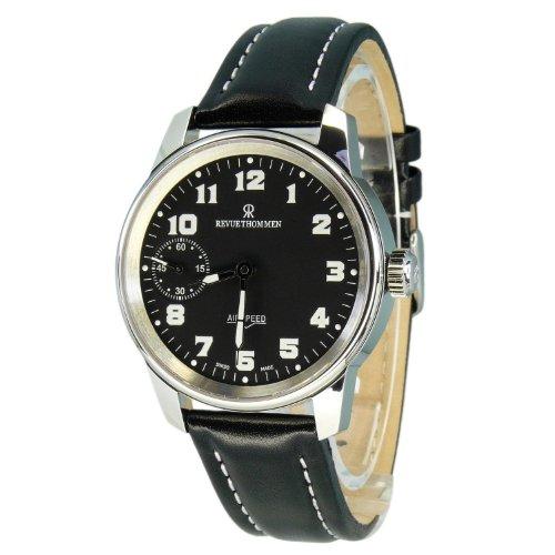 REVUE THOMMEN 16702,3587 - Reloj analógico mecánico para hombre, correa de cuero color negro
