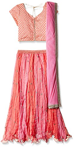Biba Girls' Ghagra Choli (KW1768_Light Pink and Peach_5)