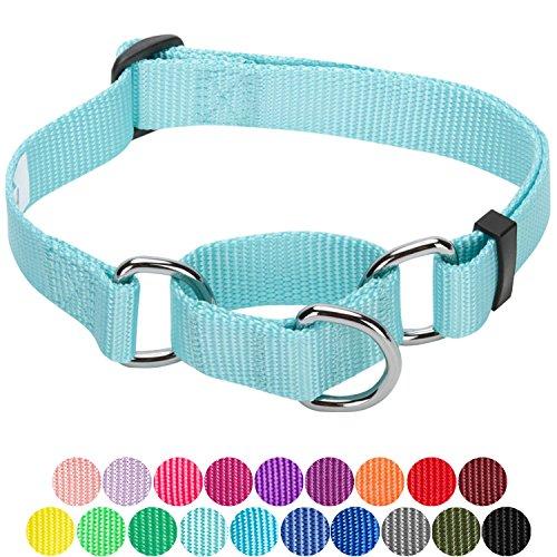 Blueberry Pet Sicherheitstraining Martingale Hundehalsband Klassisch Einfarbig 1,5 cm S Basic Polyester Nylon Hundehalsband Langlebig - Minze Blau