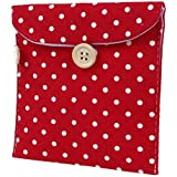 SODIAL(R)Women Rectangle Dotted Sanitary Towel Holder Bag Button Pouch Burgundy White