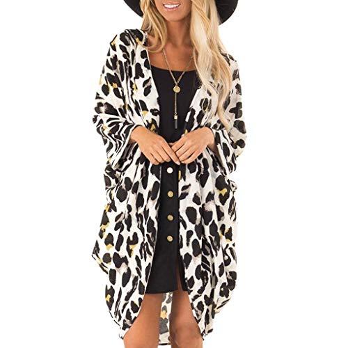 Morran Leoparden Muster Cardigan Offener Top Lose Schal Bikini Cover up Schulterjäckchen Mantel Tops Anzug Bikini Bademode Strand Badeanzug Kittel(Weiß,XXL) - Crochet Trim Cardigan
