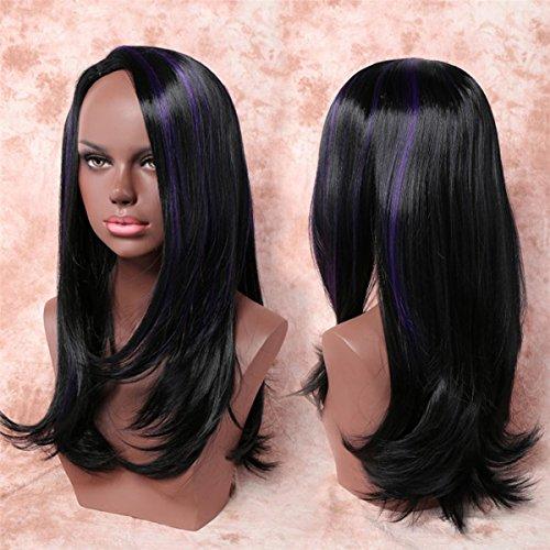 SHKY Frauen Perücke Wavy Curly Long Hair Perücken Natürliche schwarze Mix lila / Hair Schwanz natürlichen curl Perücken für Cosplay oder täglichen Gebrauch (Blondes Haar Spray Kostüm)