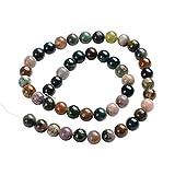 """Pandahall Precio del 1 Pieza Hebras de perlas de piedras preciosas ágata redondas naturales indios sobre 48 unidades / cadena, 14.9"""""""