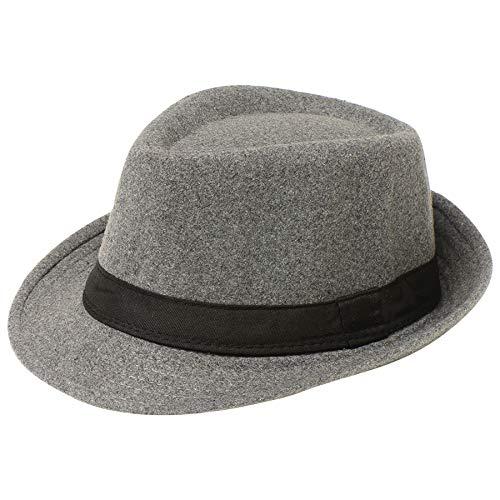 Coucoland Panama Hut Mafia Gangster Herren Fedora Trilby Bogart Hut Herren 1920s Gatsby Kostüm Accessoires (Filz Grau)