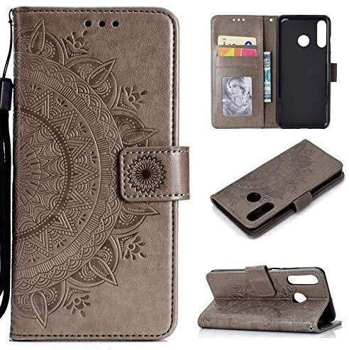 CoverKingz Handytasche für Huawei P30 Lite Handyhülle, Flip Case Cover, Schutzhülle mit Kartenfach, Handy Hülle Motiv Mandala Grau