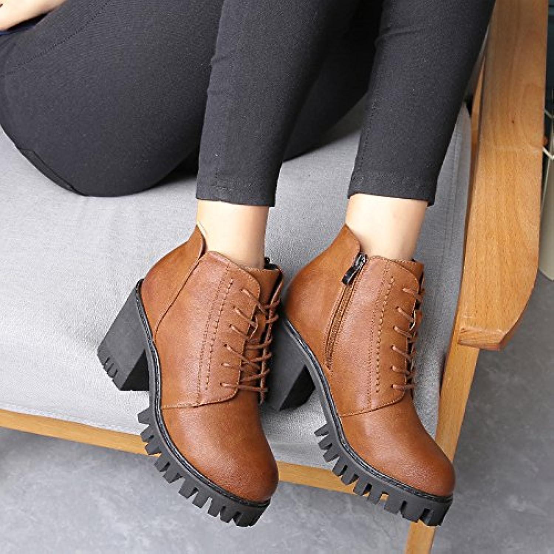 NSXZ Nuevos zapatos de moda de Corea del encaje botas de Martin botas altas femeninas con la parte gruesa con...
