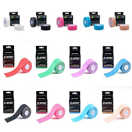 Viel Elastischer (Ziatec Kinesiologie Tape Premium - Physio-Tape in vielen Farben, Breite 2,5cm; 5,0cm, elastische Bandage für Physiotherapie, Sport, Freizeit und Medizin, Farbe:1 x blau (2 rolls 2.5cm))
