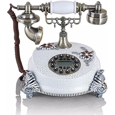 XINJING-S Creative pastorale europea Retro Vintage stile antico telefono Desk Phone Stampa Home Living Room decor, bianco,245*205*240mm
