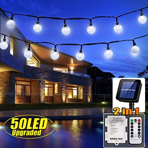 50 LED Solar Lichterkette und Batterie(2 in 1) Outdoor Lichter Wasserfest Gartenlicht 8 Modus 7 Meter Kristallbälle Weihnachtsdeko Fernbedienung und Timer für Außen Garten, Terrasse,Partys(Weiß) (Outdoor-weißen Lichterketten)
