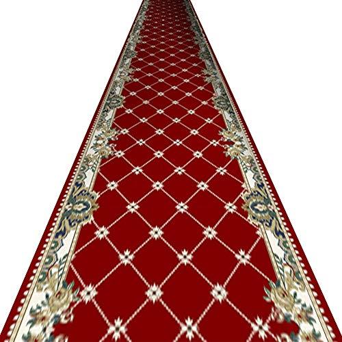 e Flur Rot Europäischer Stil Pflegeleicht Kann Geschnitten Werden Schmutzabweisend Teppich,Mehrere Größen (Farbe : A, größe : 1x5m) ()