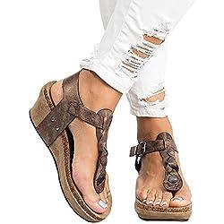 Sandalias Mujer Cuña Alpargatas Plataforma Bohemias Romanas Flip Flop Mares Playa Gladiador Verano Tacon Planas Zapatos Zapatillas Negro Beige 35-43 BR38