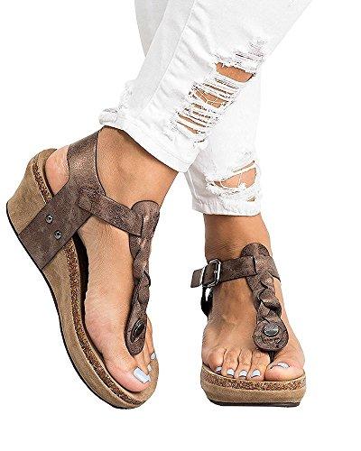 c0f76e2d118d Sandales Compensées Femme Plateforme Cuir Bout Ouvert Bohême Romaines  Espadrilles Chic Flip Flop Plage Legere Été