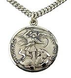 Sterling Silber 7/8Zoll Schutzengel Be My Guide Saint Michael Medaille