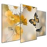 Kunstdruck - Aquarell Blumen und Schmetterlinge - 100x60 cm 3 teilig - Bilder als Leinwanddruck - Wandbild von Bilderdepot24 - Tierwelten - Zeichnung - Malerei - Falter und Blüten