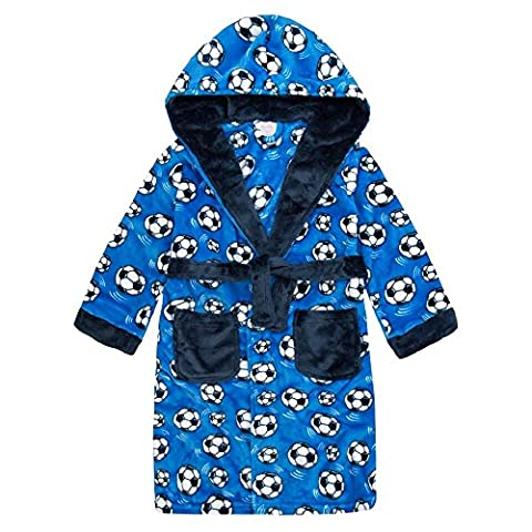 Boys Hooded Super Soft Fleece Dressing Gown Navy Grey 7-13 Years (9-10, Royal Blue Football)