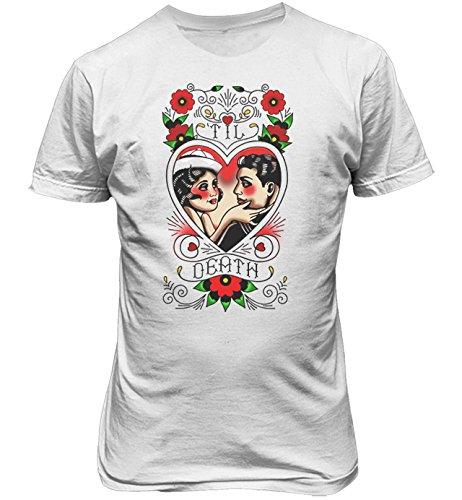 """T-shirt Uomo """"Till Death"""" - Maglietta Love Old School 100% cotone LaMAGLIERIA,L,Bianco"""