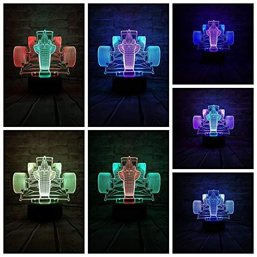 3D Rennwagen LED Nachtlicht Lampe Kiddie Kinder Kinder Familien Dekor Urlaub Weihnachten Halloween Geschenk