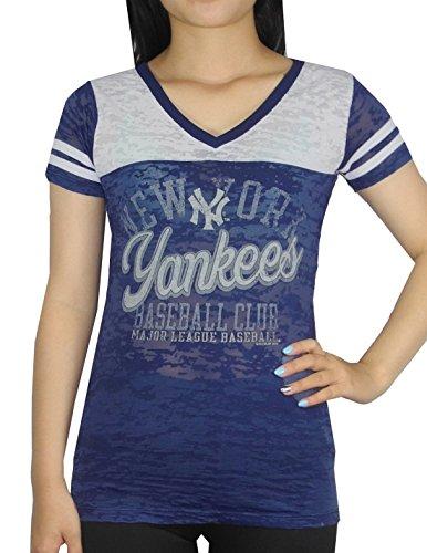 mlb-new-york-yankees-damen-athletisches-v-ausschnitt-t-shirt-vintage-look-m-dark-blau