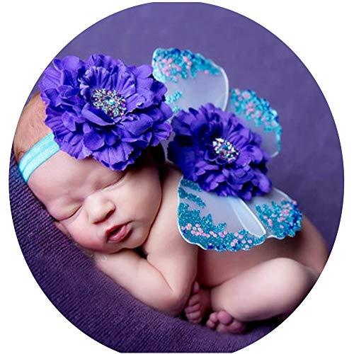 Fee Baby Tutu Kostüm - Yunbo-BC Baby Fotografie Prop Kostüm Rosa Fee Prinzessin Tutu Flügel Zauberstab Set for Mädchen verkleiden Sich Neugeborene Kleidung (Farbe : Lila, Größe : S)