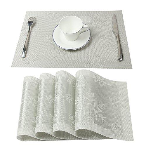 Homcomoda 4er Set Platzset mit Weihnachtsbaum-Motiv Abwaschbar Rutschfeste Vinyl Tischsets 30 x 45 cm (Silver)