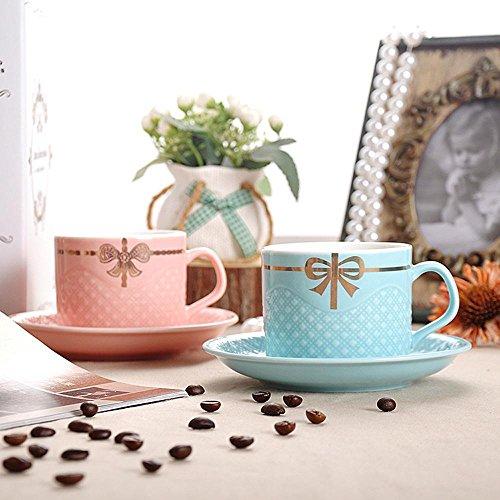 SSBY Valentin cadeaux, café ensemble tasse et soucoupe, céramique d'amoureux de la simplicité créatrice céramique tasse de tasse à thé après-midi thé, rouge