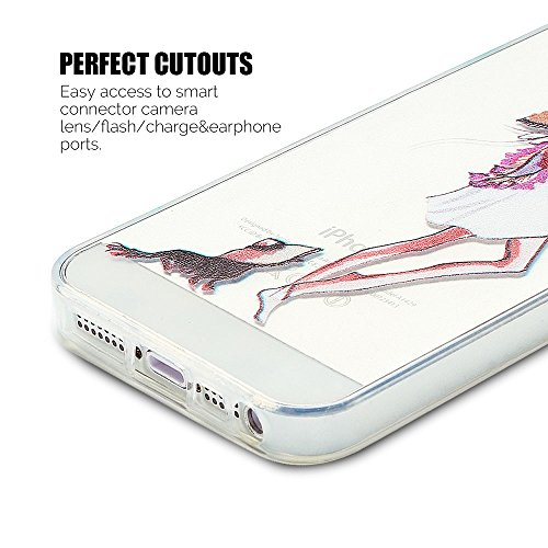 Coque iPhone 5S (5.0 pouce) , TPU Transparente La Terre Case Slim Souple Étui de Protection Soft Cover Anti Choc Ultra Mince Silicone Couverture Motif Design Bumper Gel Anfire Housse pour iPhone 5S /  Fille et Chaton