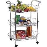 ovale à 3étages chariot à légumes Fruits de roues chariot de rangement chariot avec support