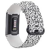 KIMILAR Fitbit Charge 3 Armband Damen, Silikon Ersatz-Armbänder Verstellbare Sport Bracelet Band Wristband für Fitbit Charge 3 & Special Edition Fitness-Tracker, Musik-Symbol, S