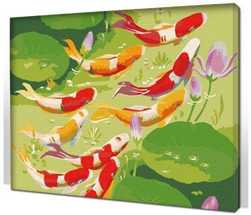 Bricolage numérique toile peinture à l'huile de décoration en nombre Kits déménagement poisson lotus 16 * 20 cm.