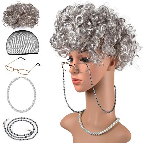 (Beelittle Old Lady Kostüm Großmutter Cosplay Zubehör Set - Oma Perücke Perücke Kappe Brille Brillen Ketten Armband Perlenkette - 5 Stück)