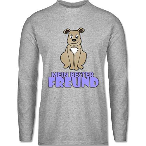 Shirtracer Hunde - Mein Bester Freund Hund - Herren Langarmshirt Grau Meliert