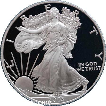 2003Unzen American, silber Proof Liberty Eagle $1One Dollar Münze in original Vevet Box
