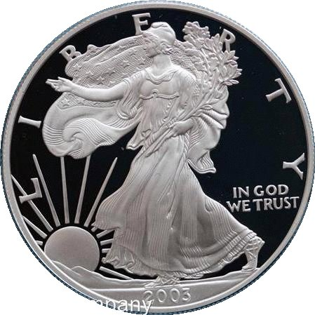 2003 Unzen American, silber Proof Liberty Eagle Münze in original Vevet Box -