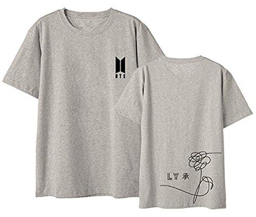 P BTS T-Shirt Bangtan Boys Love Yourself Birthday BTS Tshirts Suga Jin Jimin Jung Kook J-Hope Rap-Monster V Grau DE 40 (Monster Inc T Shirts)