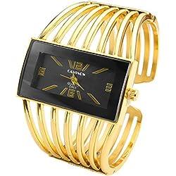 JSDDE Cadeau pour Fête des Mères Cadeau Mères Luxe Elégant Femme Montre Bracelet en Métal Alliage Doré Gourmette Ouvert Cadran Carré Noir