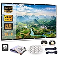Projector Screen 120 Inch, Portable Projector Screen with 16:9 HD 4K Screen for School Home Theatre Cinema, Foldable Projector Screen - 271cm(W) X 155cm(H) Matte White Widescreen